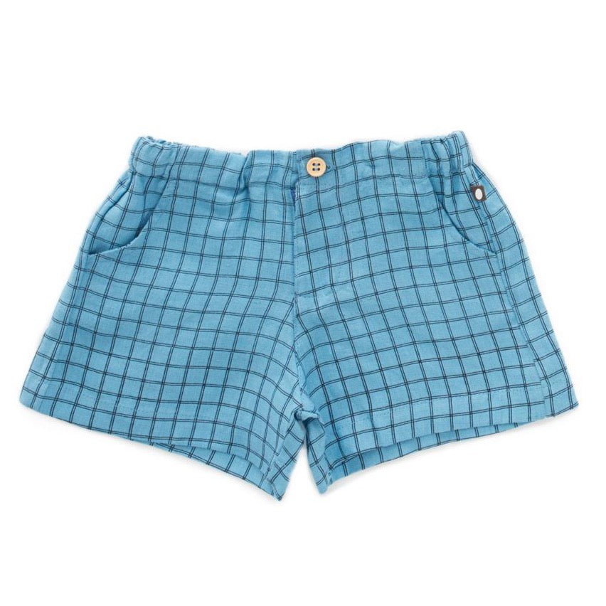 Oeuf Woven Shorts // Blue Checks by Oeuf - Mini Pop Style