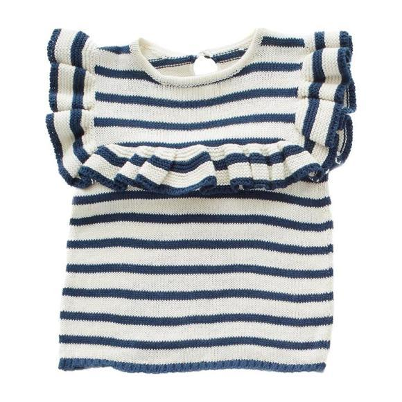 Oeuf Frou Frou Top // White/Navy Stripes