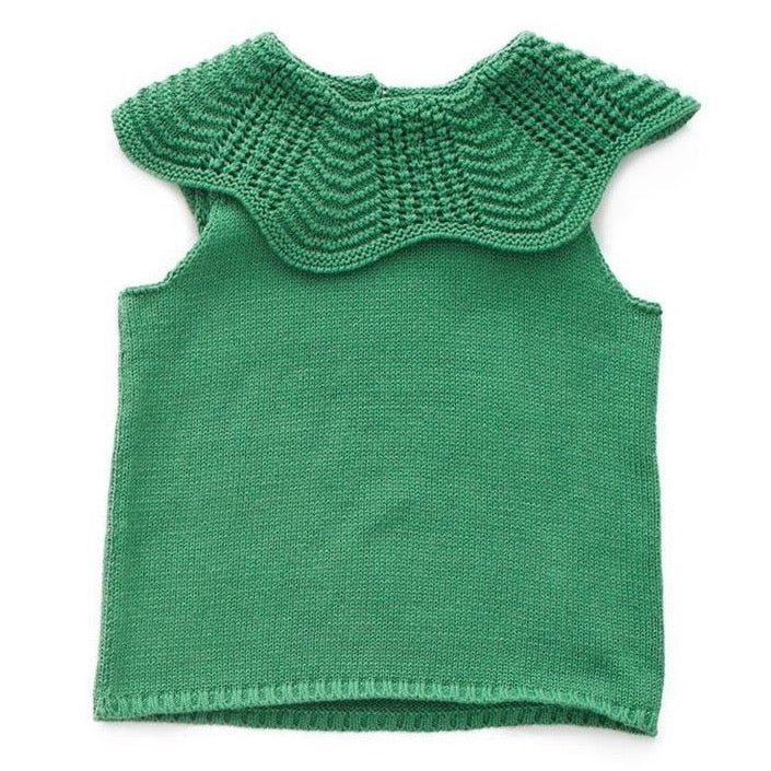 Oeuf Scalloped Collar Vest // Green by Oeuf - Mini Pop Style