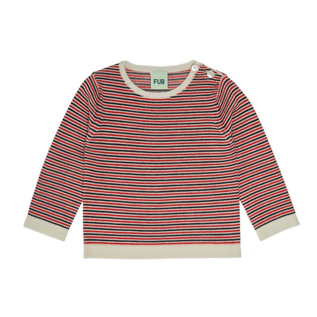 FUB Baby Striped Blouse Wool // Ecru/Dark Navy/Bright Red