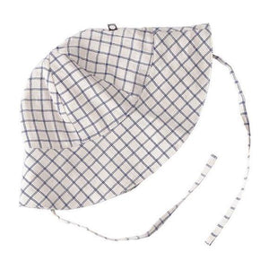 Oeuf Baby Sun Hat // Beige/Blue Checks by Oeuf - Mini Pop Style