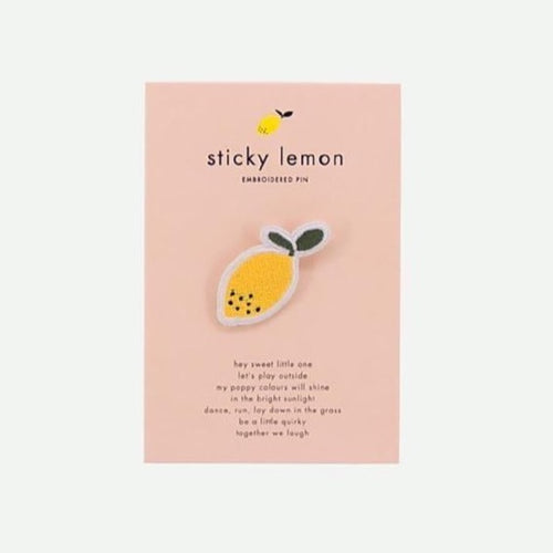 Sticky Lemon  Embroidered Pins Citron