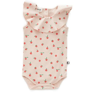 Oeuf Ruffle Collar Onesie // Light Pink/Peaches by Oeuf - Mini Pop Style