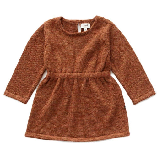 Oeuf Long Sleeve Dress // Hazelnut by Oeuf - Mini Pop Style