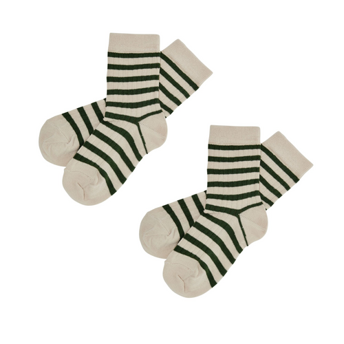 FUB 2-Pack Socks // Ecru/Forest - Mini Pop Style