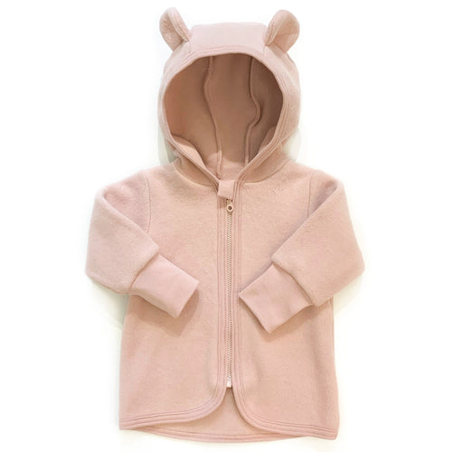 Huttelihut Jackie Baby Jacket Wool Fleece With Ears // Dusty Rose by Huttelihut - Mini Pop Style