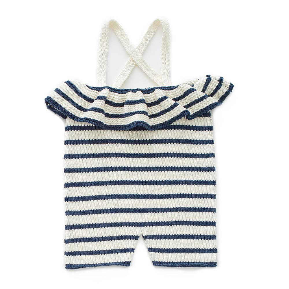 Oeuf Ruffle Knit Romper // White/Navy Stripes by Oeuf - Mini Pop Style