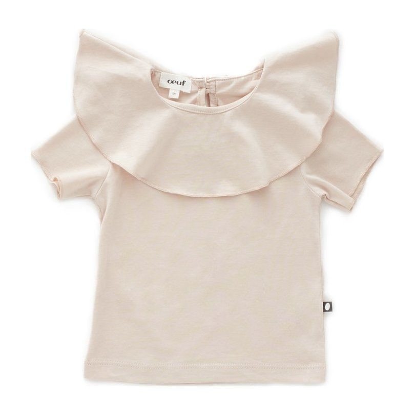 Oeuf Ruffle Collar Tee // Pink by Oeuf - Mini Pop Style