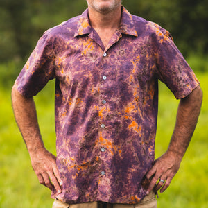 front view of Original button down cotton camp shirt by mythosmade in brown purple orange hand tie shibori dye art