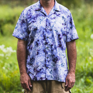 front view of Original button down cotton camp shirt by mythosmade in purple gray white hand tie shibori dye art