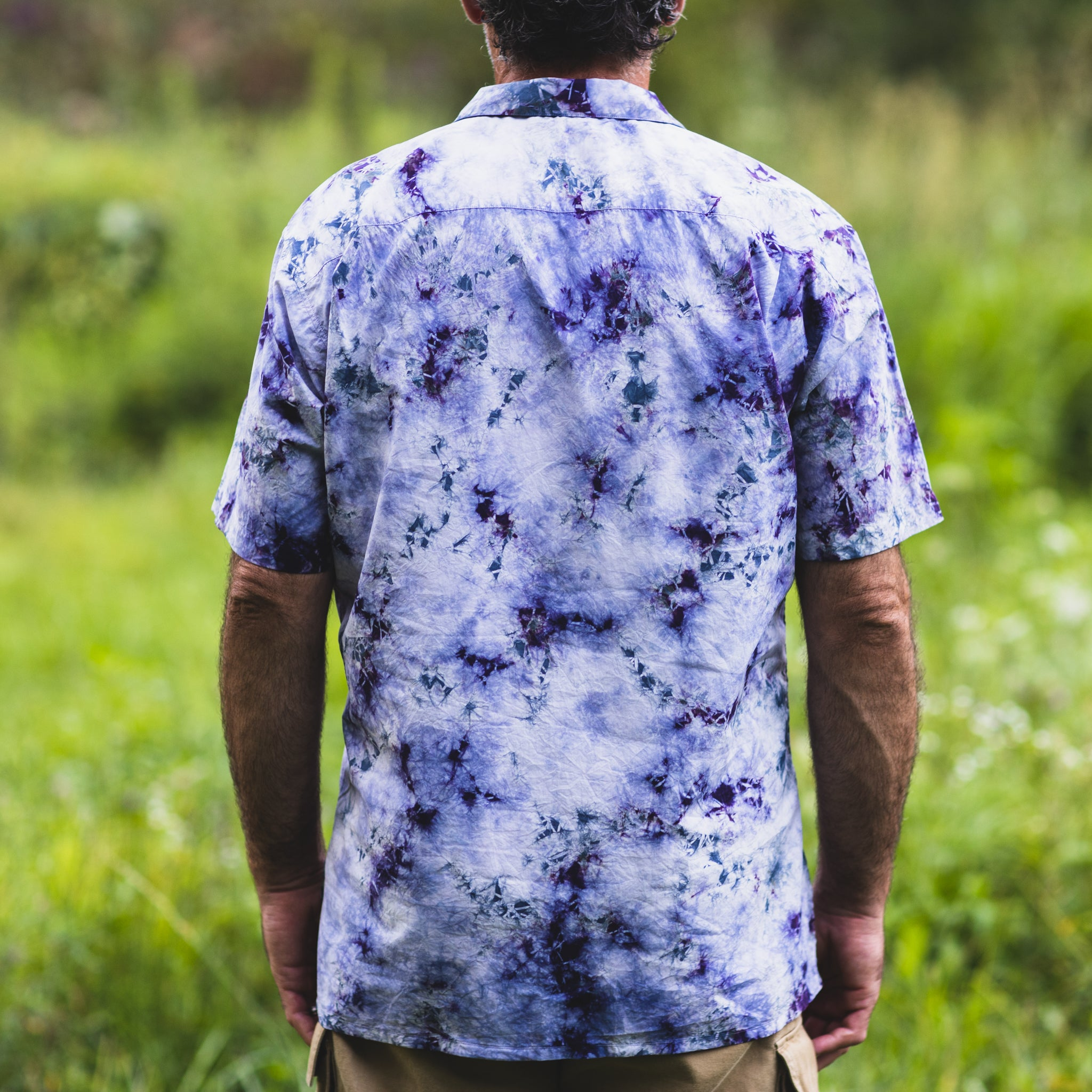 Back view of Original button down cotton camp shirt by mythosmade in purple gray white hand tie shibori dye art