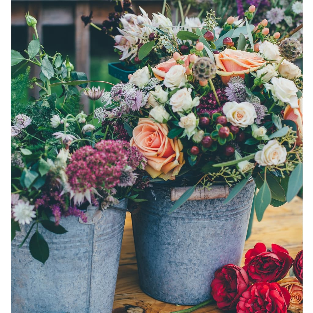 DIY Seasonal Flower Buckets - Flowers