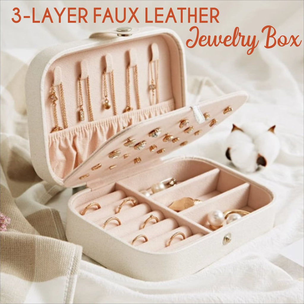 3-Layer Faux Leather Jewelry Box