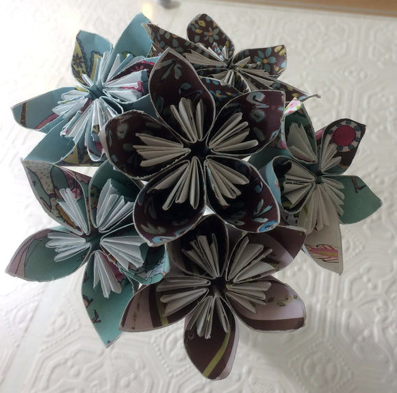 Mini Paper Flower Posey - Green,Pink & Brown