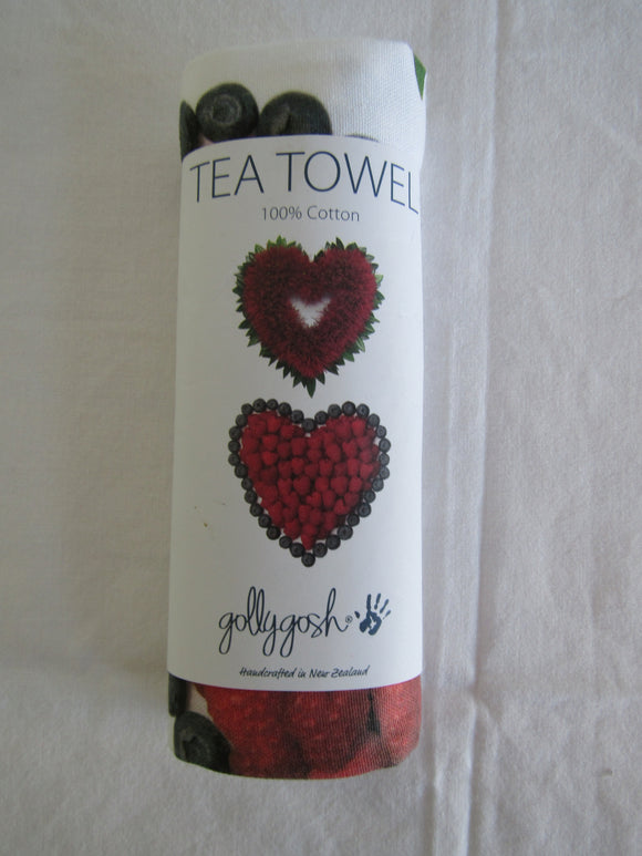 Floral Art Tea Towel - Red Hearts