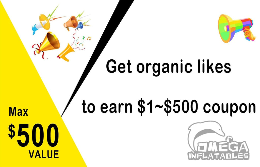 Get organic likes to earn $1~$500 coupon
