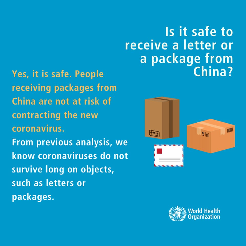 Q: Is it safe to receive a letter or a package from China?