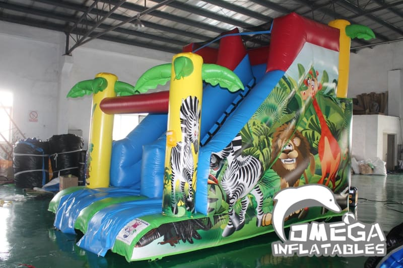 13FT Jungle Animals Palm Tree Dry Slide