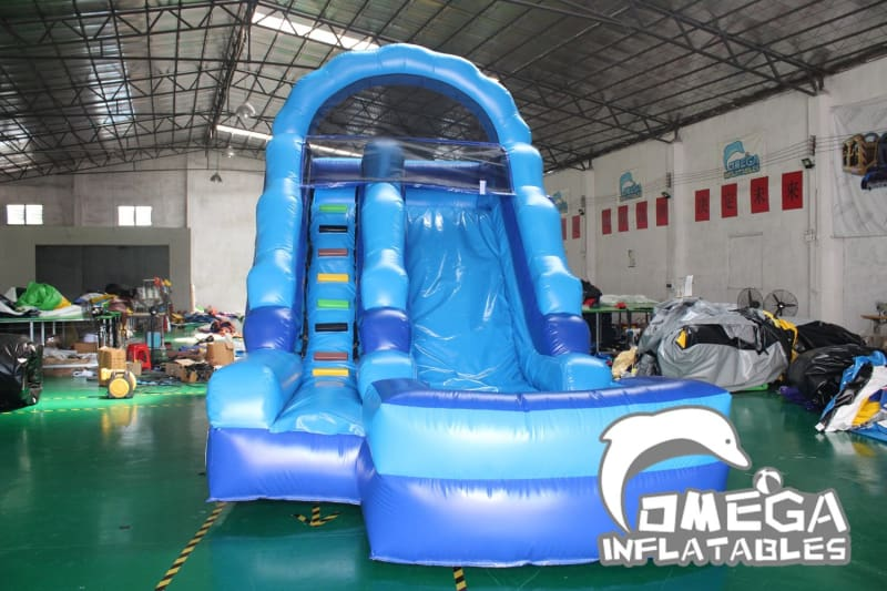 14FT Blue Water Slide - Omega Inflatables Factory