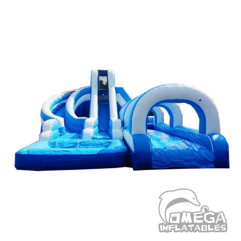 15FT Blue & White Helix Dual Lane Wet Dry Slide with Slip N Slide