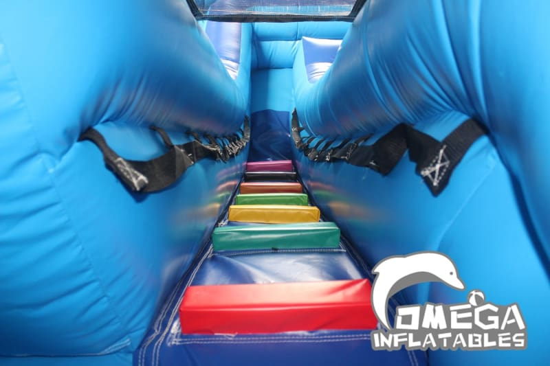 16FT Dolphin Double Dip Curve Water Slide   Omega Inflatables Factory