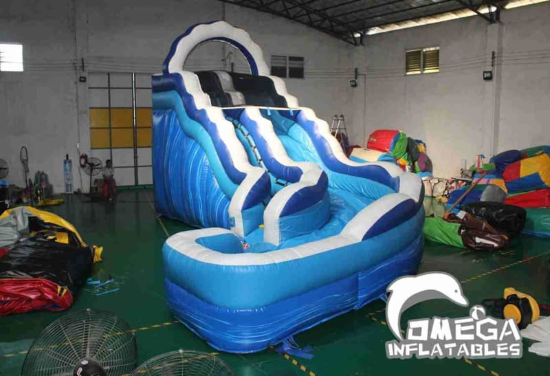 17FT Blue Marble Curved Inflatable Water Slide