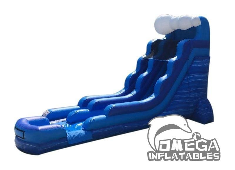 18FT Blue Marble Wave Wet Dry Inflatable Slide