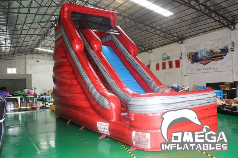 18FT Marble Red Dry Slide - Omega Inflatables Factory