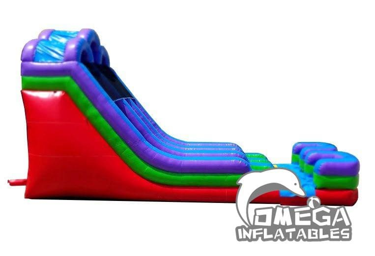 18FT Retro Rainbow Double Bay Wet Dry Inflatable Slide