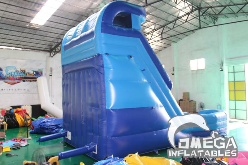 20FT Blue Double Lane Water Slide - Omega Inflatables Factory