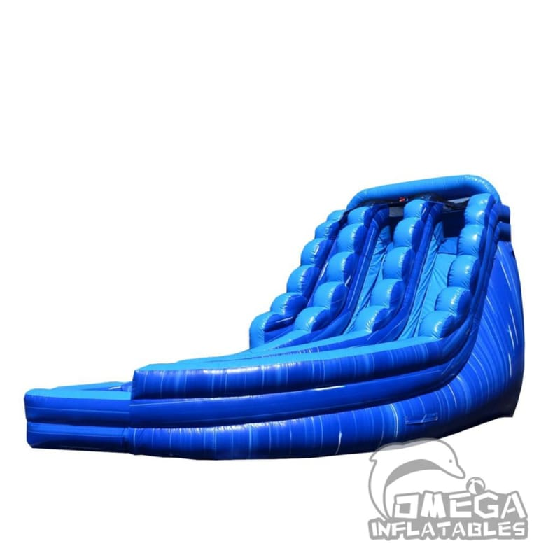 20FT Blue Marble Curve Dual Lane Wet Dry Slide