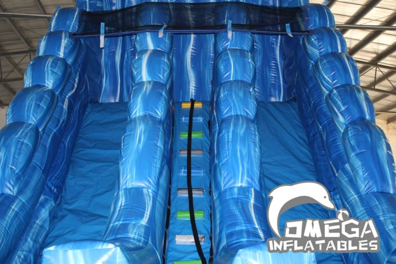 20FT Dolphin Marble Dual Lane Water Slide   Omega Inflatables Factory