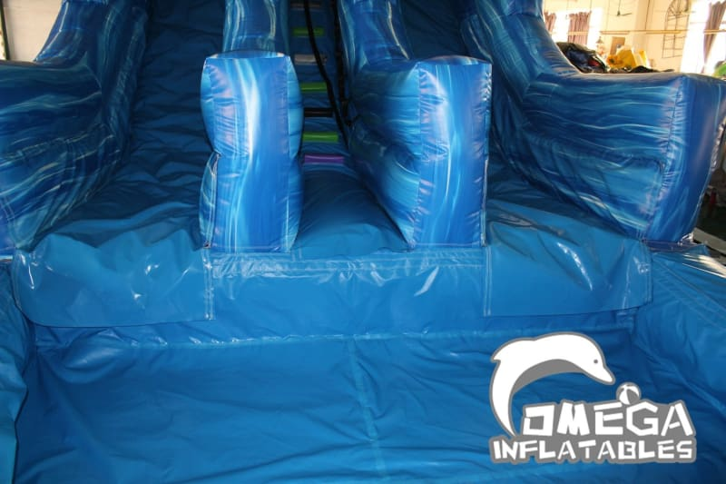 20FT Dolphin Marble Dual Lane Water Slide - Omega Inflatables Factory