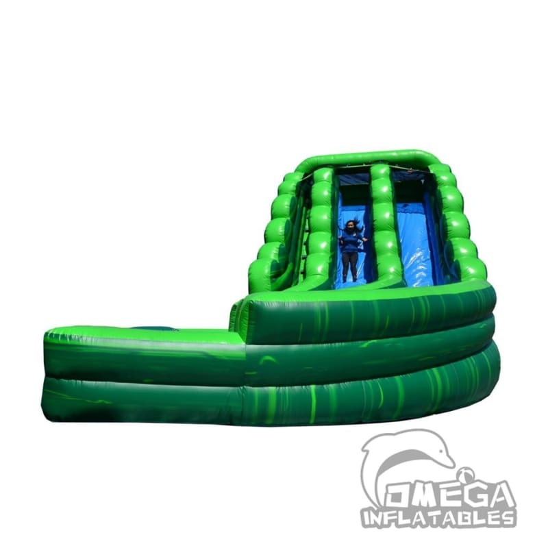 20FT Tropical Marble Curve Dual Lane Wet Dry Slide