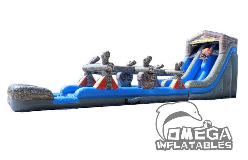 22FT Log Mountain Dual Lane WetDry Inflatable Slide and Slip n Slide