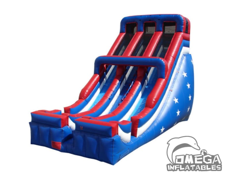 24FT Inflatable Patriotic Double-Lane Slide