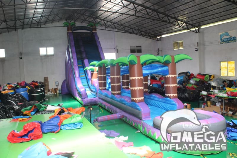 25FT Purple Tropical Splash Water Slide