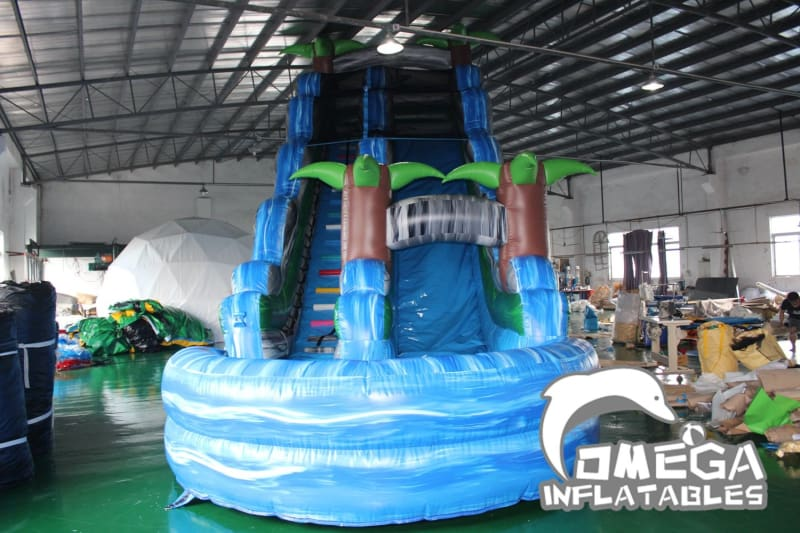 25FT Tropical Blue Crush Water Slide