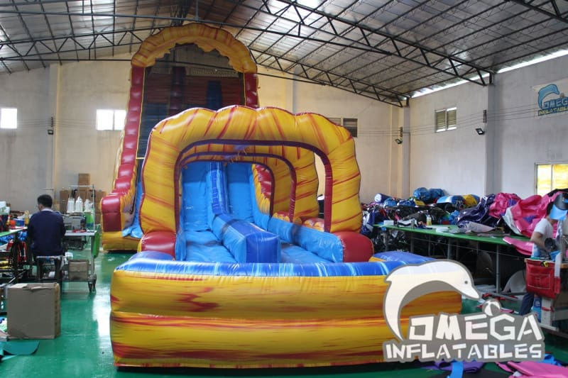 27FT Lava falls Double Lane Water Slide