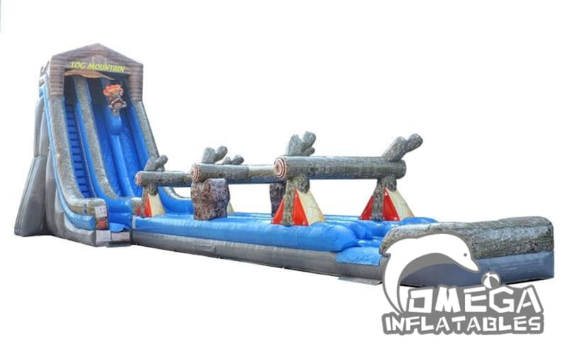 27FT Log Mountain Dual Lane Wet Dry Inflatable Slide with Slip N Slide