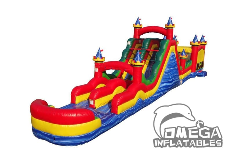 69FT Circus Obstacle With Dual Lane Roller Slide