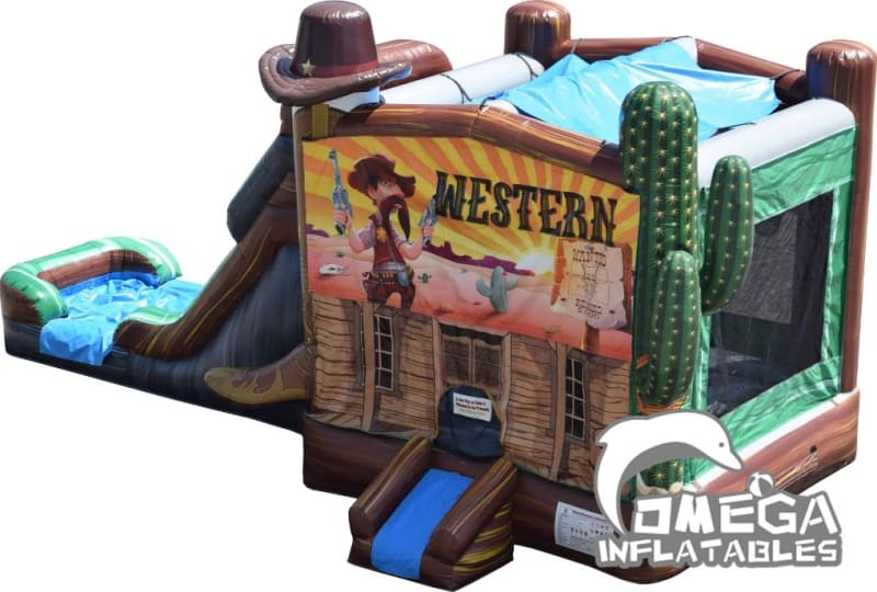 Cowboy Combo Bounce House With Slide