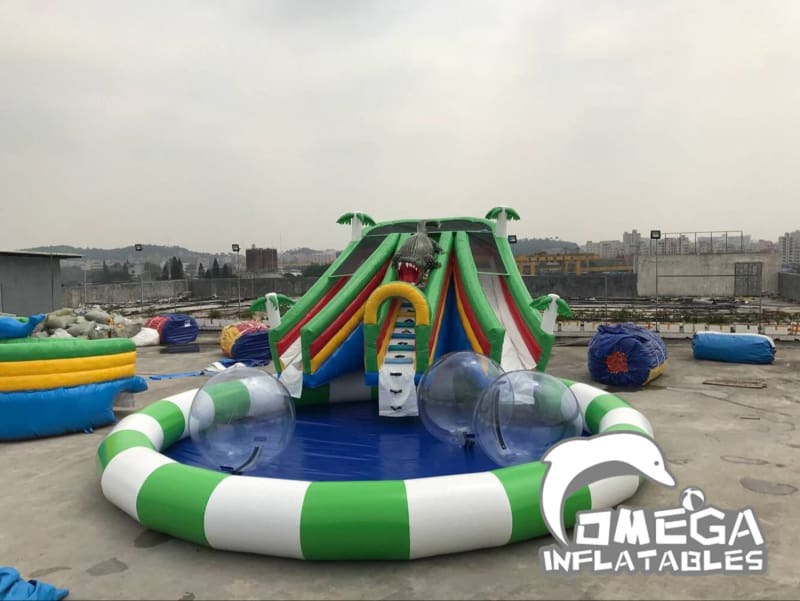 Crocodile Themed Mini Inflatable Water Park - Omega Inflatables