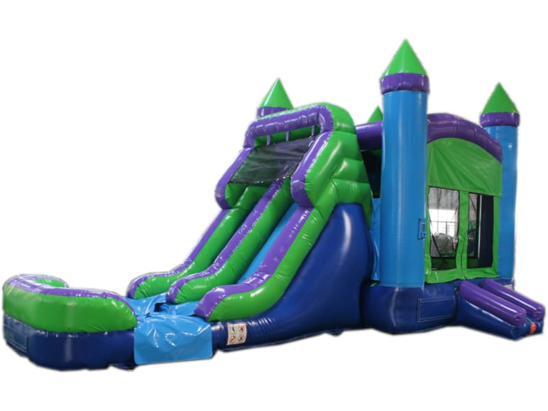 Inflatable Green N Purple Dual Lane Combo