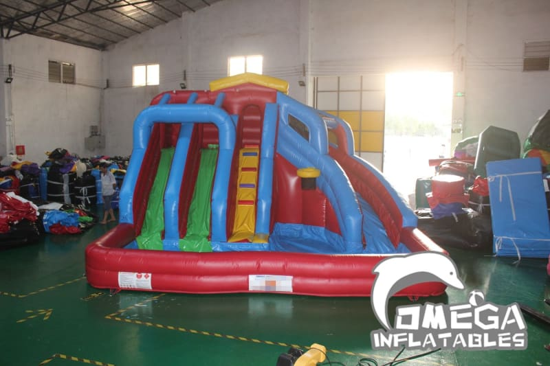 Inflatable Water Slide with Big Pool