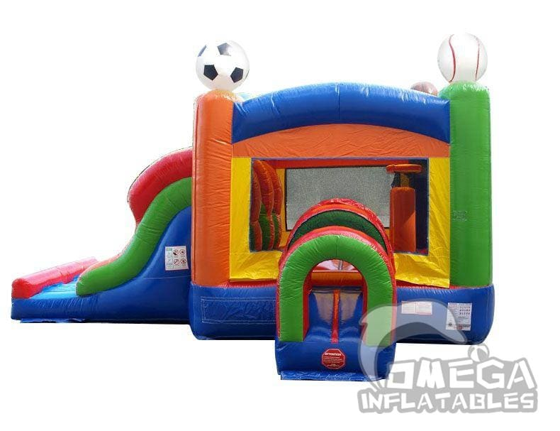 Kids Sports Bounce House and Double Lane Slide Combo