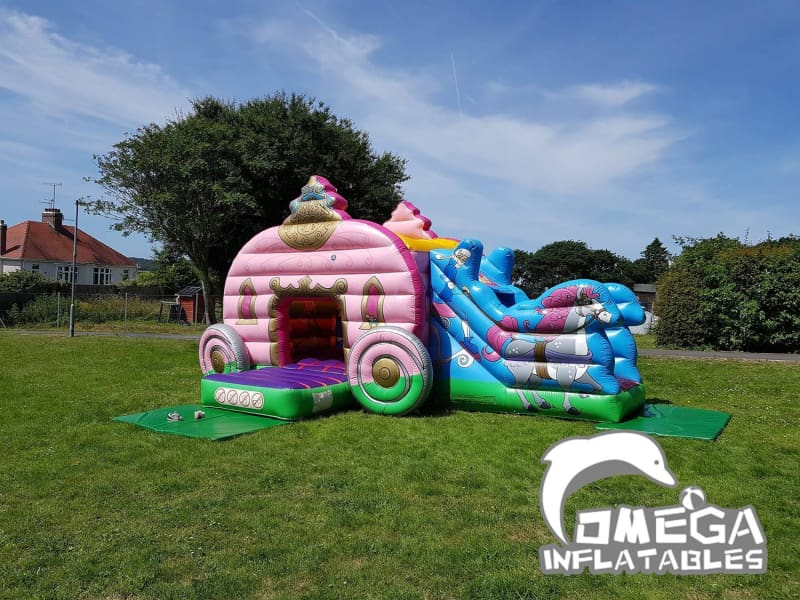 Princess Carriage Bouncy Castle With Slide