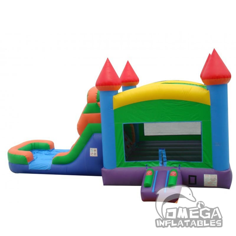 Rainbow Bounce House Wet or Dry Slide Combo