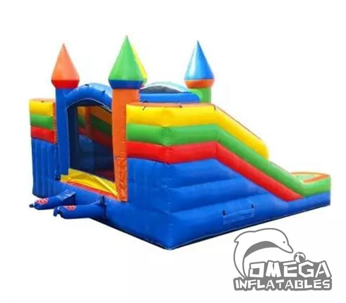 Rainbow Double Slides Bounce House Wet Dry Combo