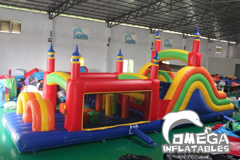 Rainbow Race Inflatable Obstacle Course